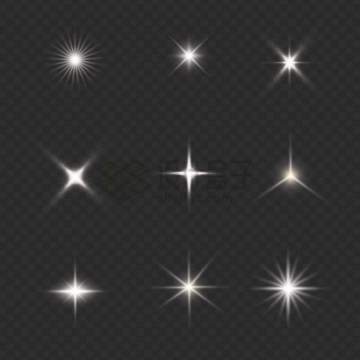 9款白色的光芒星光光线效果9847437png图片素材
