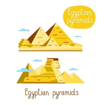 扁平化风格金字塔狮身人面像埃及地标建筑旅游图片免抠矢量素材