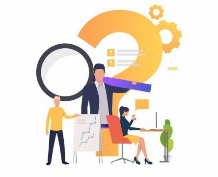 扁平化风格问号和扛着放大镜的商务人士png图片免抠eps矢量素材