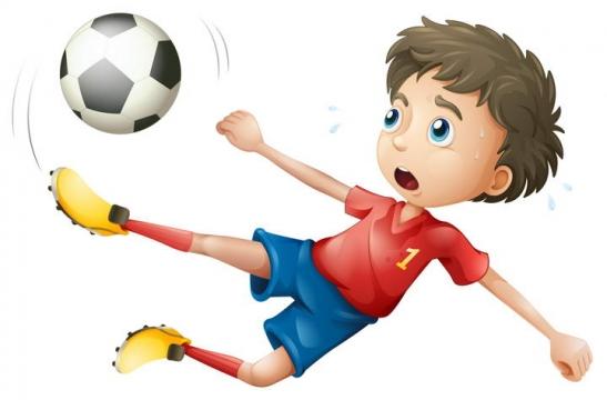 卡通正在踢足球的小男孩儿童节图片免抠素材