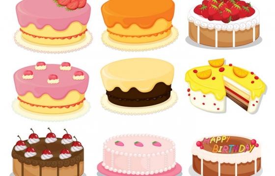 9款糖果色奶油蛋糕生日蛋糕图片免抠素材