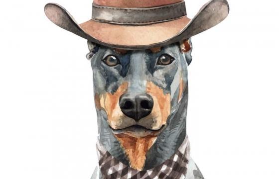 彩色手绘油画风格戴帽子的杜宾犬宠物狗图片免抠素材