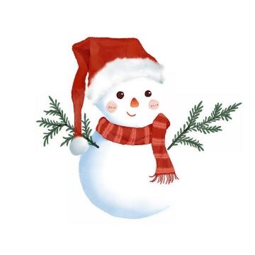 冬天戴着帽子围着围巾的可爱卡通雪人免抠PNG图片素材