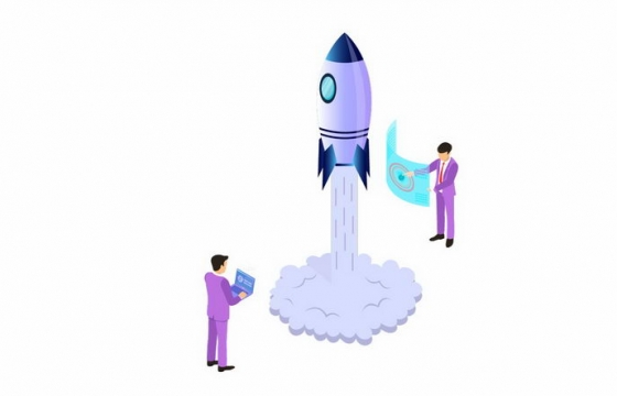 2.5D风格正在监控火箭发射的科研人员png图片免抠eps矢量素材