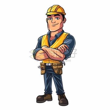 抱拳的卡通工人戴着安全帽png图片素材