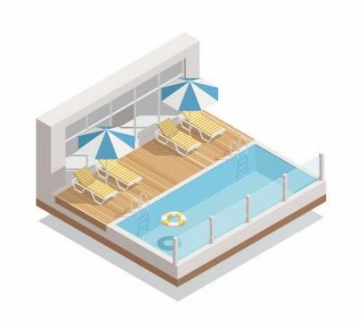 2.5D风格游泳馆户外游泳池和旁边的遮阳伞沙滩躺椅png图片免抠eps矢量素材