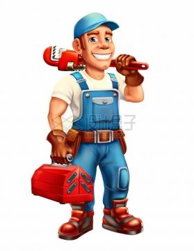 卡通维修工人扛着管钳拎着工具箱五一劳动节劳动人民png图片素材