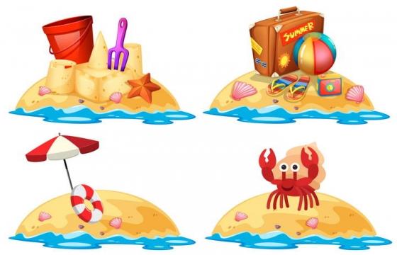 四款夏日海岛游沙滩玩沙子旅游图片免扣素材