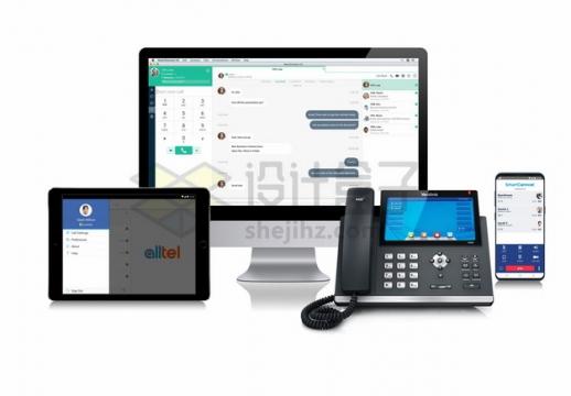 电脑平板电脑手机和传真电话png图片素材