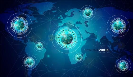 蓝色世界地图上的新型冠状病毒肺炎背景png图片免抠矢量素材