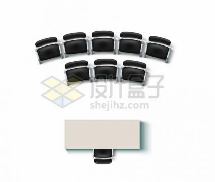 俯视视角的讲台和下面围成弧形的沙发座椅949858png矢量图片素材