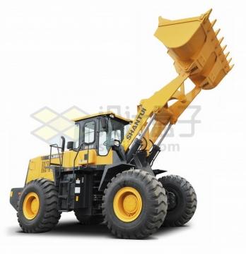 高高举起铲斗的铲车png图片素材