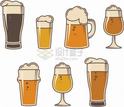 7款卡通啤酒杯彩绘插画png图片免抠矢量素材