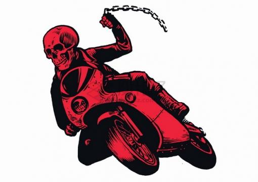 红色骷髅头拿着铁链骑着摩托车漫画插画png图片素材