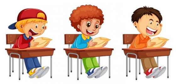 三个正在上课认真看书考试的学生图片免抠素材