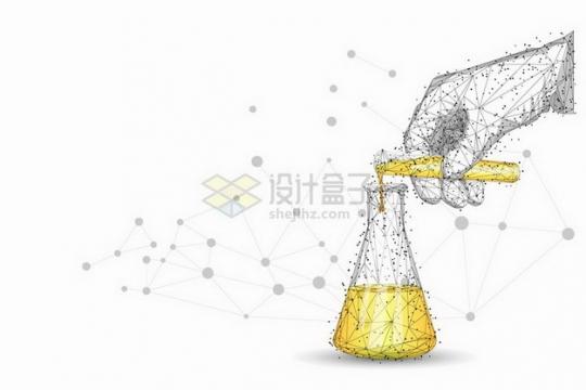 点线三角形组成的往烧瓶中倒液体的医疗试验png图片免抠矢量素材
