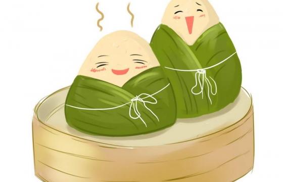 手绘卡通风格正在蒸笼上的端午节粽子图片免抠素材