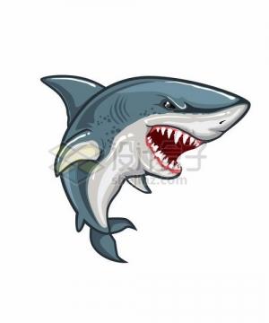 愤怒凶恶的卡通鲨鱼png图片免抠矢量素材