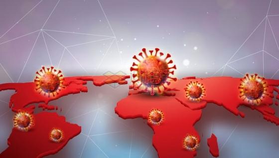 红色立体世界地图上的新型冠状病毒肺炎背景png图片免抠矢量素材