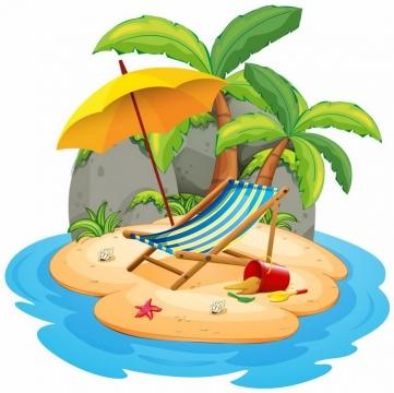卡通风格热带海岛和椰子树黄色遮阳伞和沙滩躺椅png图片免抠eps矢量素材