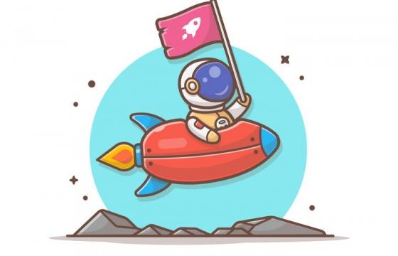 可爱卡通坐着小火箭飞行的宇航员宇宙太空探索图片免抠素材