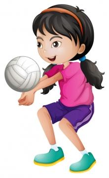 卡通风格正在打排球的小女孩儿童节图片免抠素材