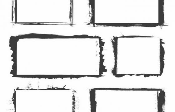 6款黑色涂鸦风格长方形边框图片png免抠素材
