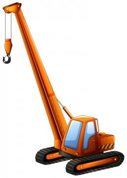 橙色的履带式大型起重机工程机械车辆图片免抠矢量素材