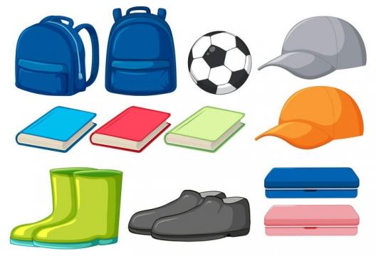 书包足球鸭舌帽书本鞋子等学生儿童节图片免抠素材