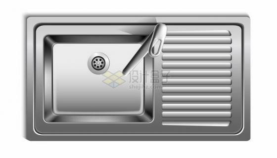 不锈钢水槽洗菜盆俯视视角png图片素材