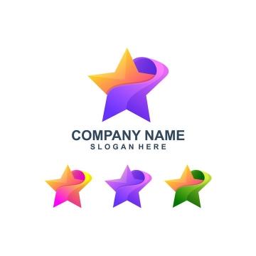 4种颜色的创意抽象五角星logo设计方案图片免抠矢量素材