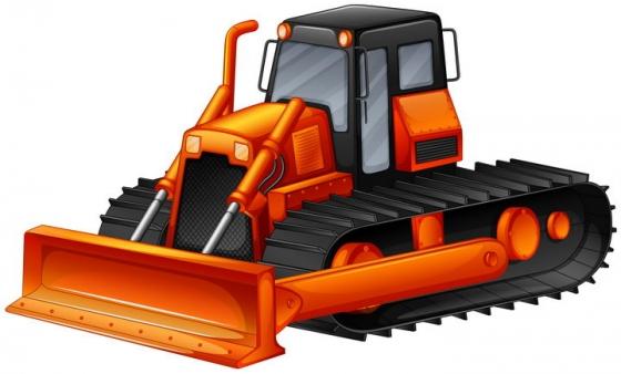 橙色的履带式重型推土机工程机械车辆图片免抠矢量素材