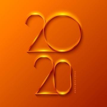 金色金属质感的2020字体图片免抠矢量素材