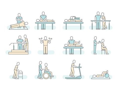 康复治疗医疗类icon线条图标图片免抠素材