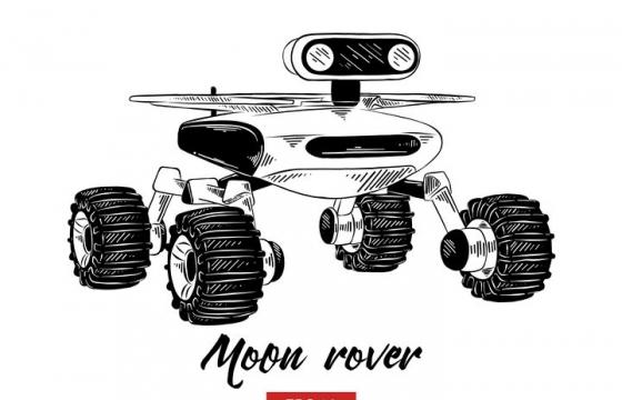 手绘素描风格火星探测车月球探测车天文科普图片免抠素材