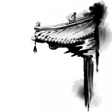 水墨画风格中国传统建筑屋檐png免抠图片