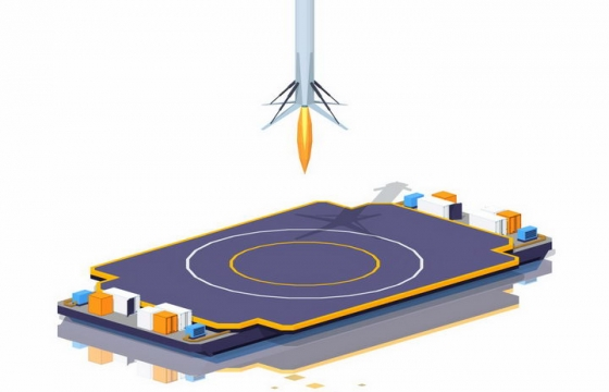 Space X在海上火箭降落埠上降落的猎鹰9号可回收火箭png图片免抠eps矢量素材