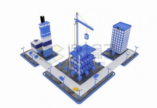 紫色3D城市街道高楼大厦和建造房子的塔吊png图片素材