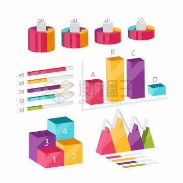 各种彩色3D立体环形图条形图柱形图折线图等PPT数据图表png图片免抠矢量素材