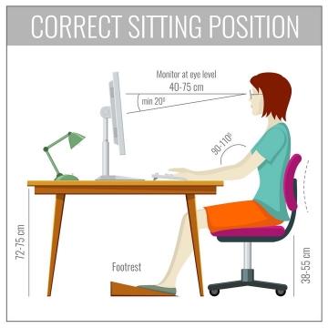 女人标准用电脑正确的坐姿图片免抠素材