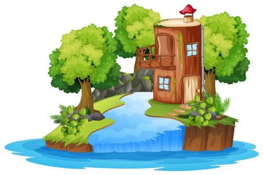 小岛上的树屋和瀑布树林等自然景观图片免抠矢量素材