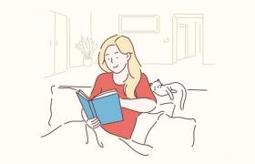 手绘彩色上色线条漫画风格看书的女孩子图片免抠素材