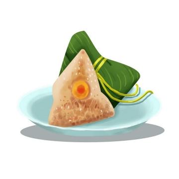 手绘风格剥开的端午节粽子蛋黄粽美食图片免抠素材
