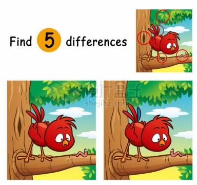 儿童益智游戏插图吃虫的小鸟找茬找不同配图png图片免抠素材