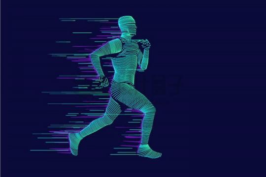 炫酷抽象绿色线条正在跑步的男人png图片免抠矢量素材