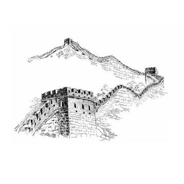 黑色铅笔画素描风格长城png免抠图片