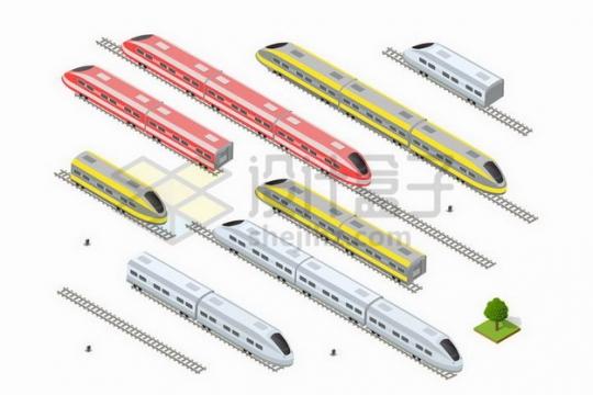 各种2.5D风格高铁动车车厢png图片免抠矢量素材