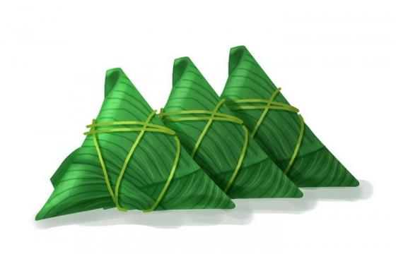 手绘风格三个并排放的端午节粽子配图图片免抠素材