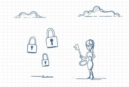 圆珠笔画涂鸦风格女人拿着钥匙面对很多把锁求救职场人际交往配图图片免抠矢量素材