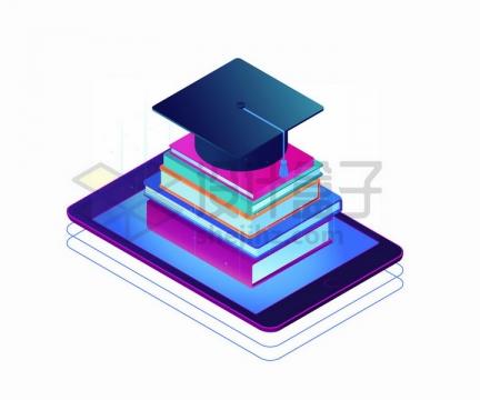平板电脑上的书籍和博士帽png图片免抠矢量素材
